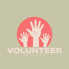 Beige Illustrated Volunteering Instagram Square Graphic with Hands Volunteer