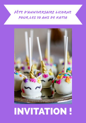 cake pops unicorn birthday cards Carte anniversaire licorne