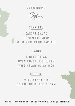 Green and White France Wedding Menu A5 France