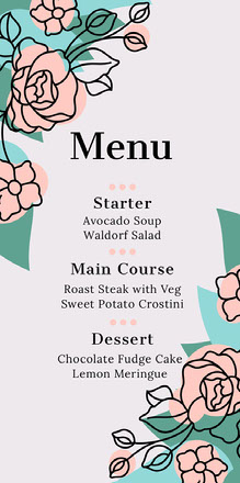 flower corner wedding menu  Menu per matrimonio