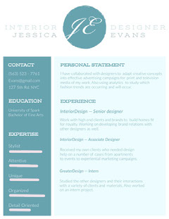Blue Interior Designer Resume Interior Design