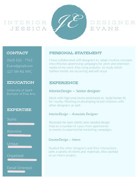 Blue Interior Designer Resume Curriculum creativo
