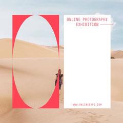 White and Red Frame Design Instagram Square Desert