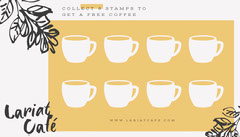 Yellow with sketched leaves Coffee Shop Loyalty Card Coffee