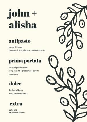 leaves decor wedding menu Menu