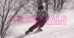 Pink, White and Black Ski Rental Ad Facebook Banner Winter