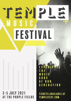 Green & Grey Geometric Music Festival A3 Poster Festival