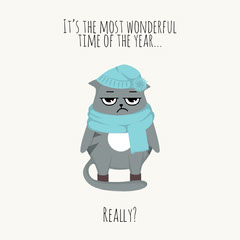 Funny Cold Winter Cat Illustration Quote Cat