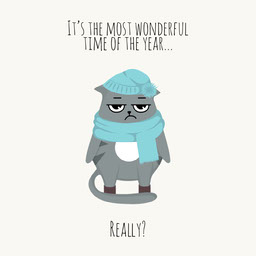 Funny Cold Winter Cat Illustration Quote