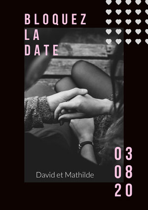 black and white photo save the date card  Annonce de mariage