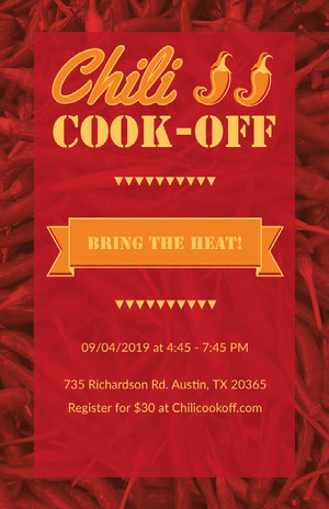 Red Chili Cooking Event Flyer Chili Cook Off Flyer