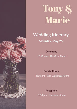 Violet and Pink Wedding Ceremony Program Itinerario