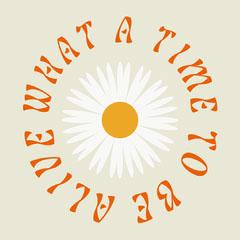 Groovy Circular Inspirational Phrase Around Daisy Flower Illustration Instagram Square Groovy