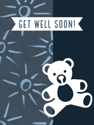Blue Illustrated Get Well Soon Card with Teddy Bear God bedring-kort