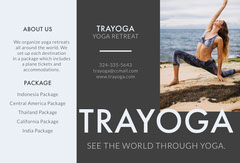 Gray Yoga Travel Brochure with Woman Exercising on Beach Music Tour