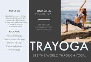Gray Yoga Travel Brochure with Woman Exercising on Beach Brochure