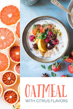 Oatmeal with Citrus Flavors Recipe Pinterest Graphic Vegan