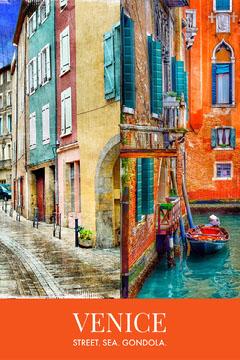 Orange Venice Italy Travel and Tourism Pinterest Graphic Italy