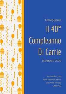Il 40° <BR>Compleanno <BR>Di Carrie  Invito