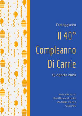Il 40° <BR>Compleanno <BR>Di Carrie  Invito al compleanno