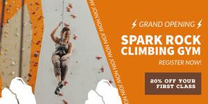 Orange and White Climbing Gym Advertisement Ads Banner