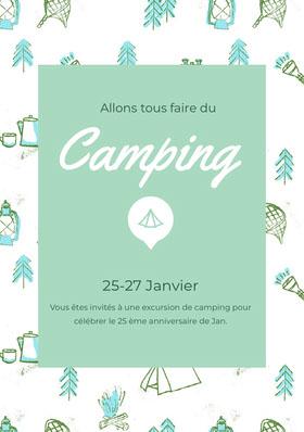 Camping<BR> Invitation d'anniversaire