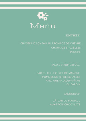 light blue wedding menu  Menu