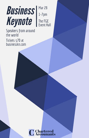 Blue Geometric Business Event Flyer Pôster de evento