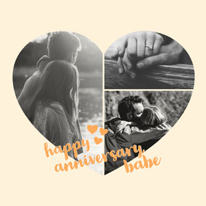 Black and White Heart Anniversary Instagram Graphic Anniversary Card Messages