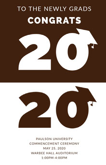 Brown Graduation Poster with Year and Mortarboards School Posters