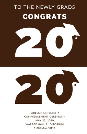 Brown Graduation Poster with Year and Mortarboards Graduation Poster