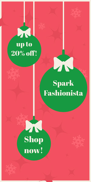 Red and Green Christmas Bauble Sale Vertical Ad Banner Volantino pubblicitario