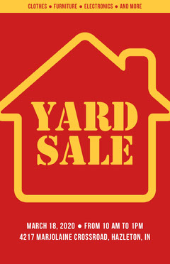 Red and Yellow Yard Sale Poster Sale Flyer