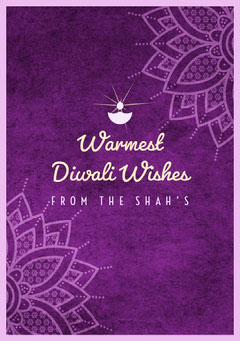 Violet and White Happy Diwali Card Religion