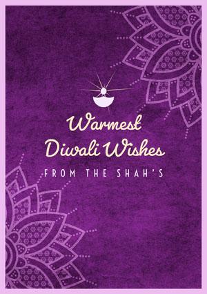 Violet and White Happy Diwali Card Diwali