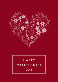 Red Valentine's Day Card Messages d'amour
