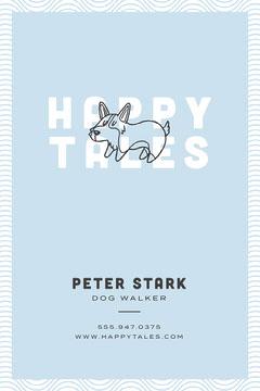 White and Blue Dog Walker Business Card Dog Walker Flyer