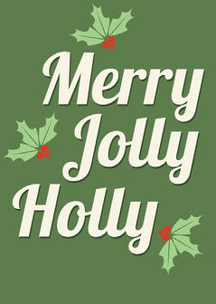 Green Holly Jolly Merry Card Winter