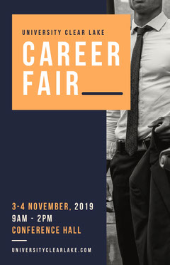 Blue, Orange, Black and White, Modern, Career Fair Event Ad, Poster Job Poster