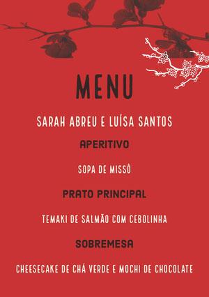 floral red wedding menu  Menu