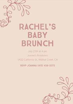 Pink Baby Brunch Invitation Baby Shower (Girl)