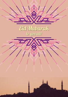 Violet and Pink Eid Mubarak Card Eid Mubarak