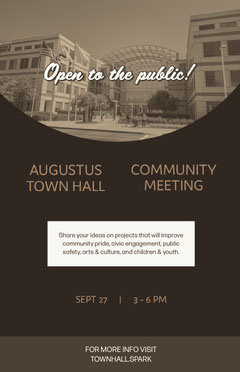 Black and Beige August Town Hall Meeting Ad Poster Meeting Flyer