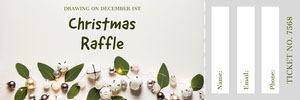 Grey and White Christmas Raffle Ticket Bilhete de sorteio