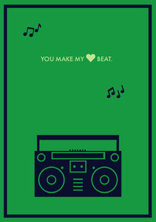 Green Musical Style Love Greeting Card with Boombox Tarjetas