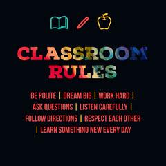 Multicolored Classroom Rules Square Card Classroom