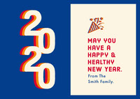 Blue White and Red Happy New Year Card Happy New Year Quotes