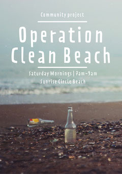 Blue and White and Brown Operation Clean Beach Flyer A5 Cleaning Service