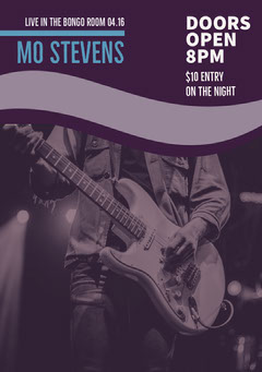 Violet and White Mo Stevens Flyer Live Music Flyer