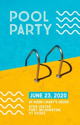 Pool Party Flyer Folleto de invitación a evento